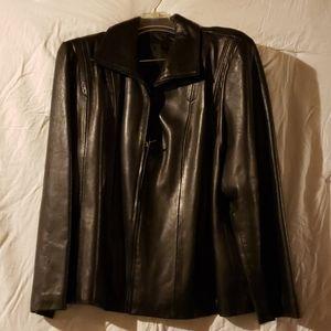 Women's black leather jacket